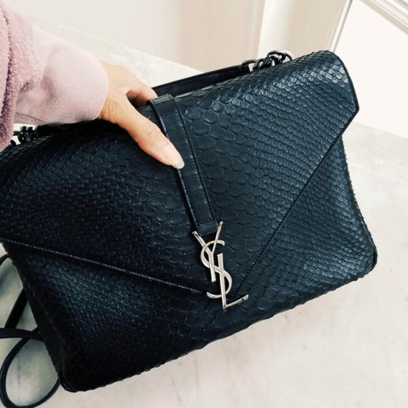 5697e651df1 Yves Saint Laurent Bags   Ysl College Snakeskin Embossed Handbag ...